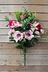 Искусственные цветы - Ритуальный букет пион, анемон, лилия, 66 см