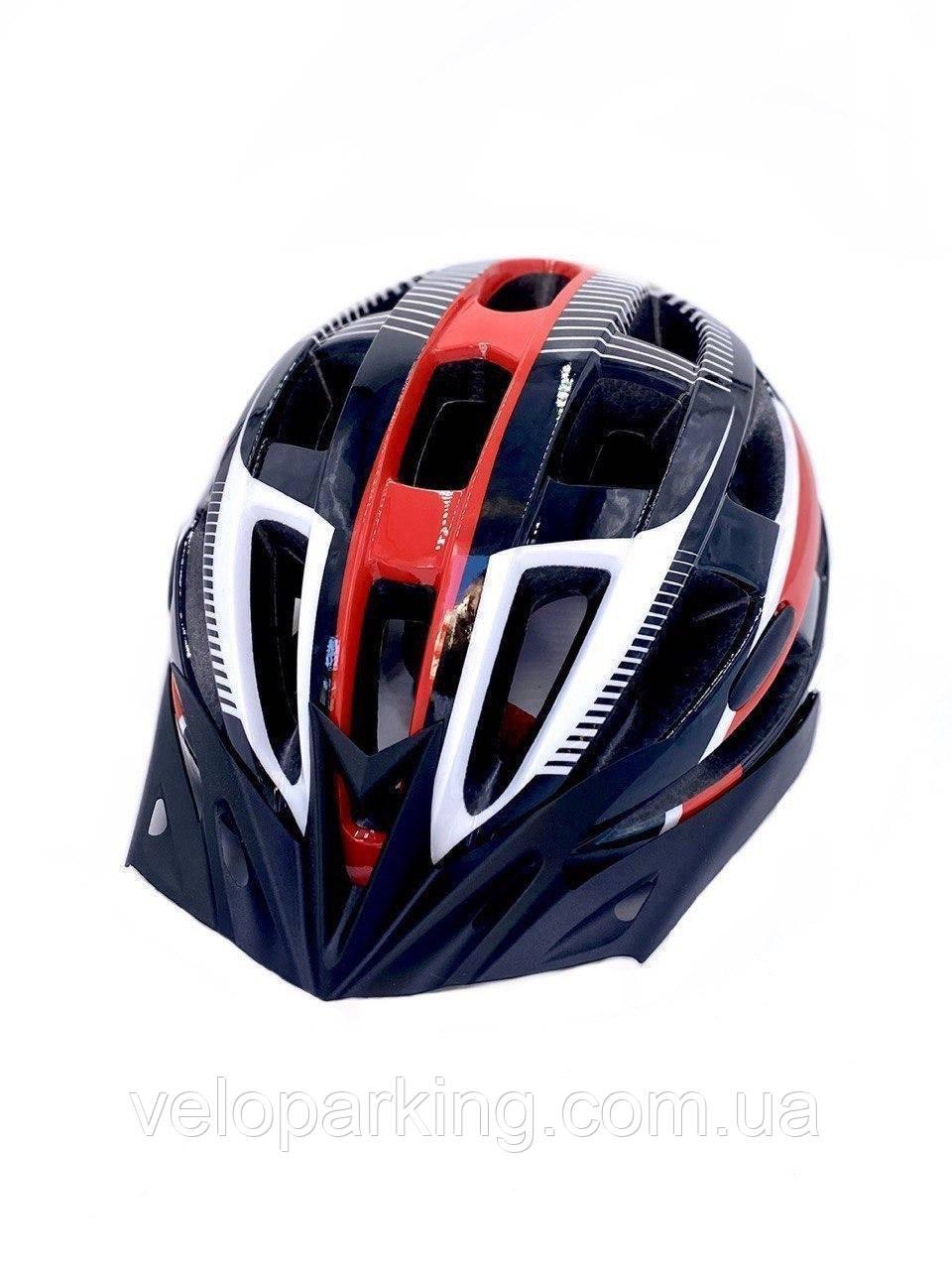 Шлем велосипедный  с козырьком черный/белый/красный