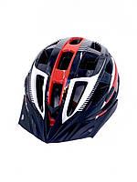 Шлем велосипедный  с козырьком черный/белый/красный, фото 1