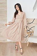 Летнее бежевое платье миди в горошек с карманами (L/XL)