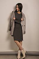 Трикотажное черное платье футляр с бусинами (S, M)