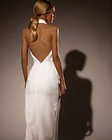 Белое нарядное длинное платье с открытой спиной и плечами, M, молочный
