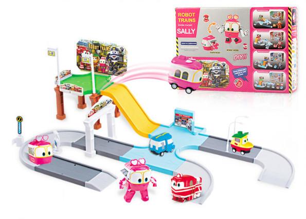 Игровой автотрек Роботы-Поезда Robot Trains Салли (Selly) розовый