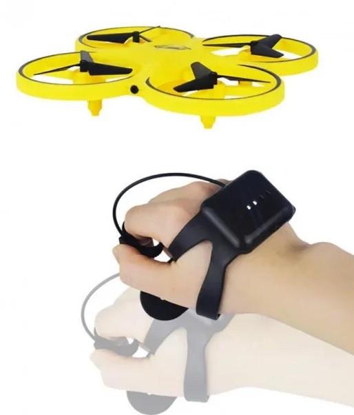 Квадрокоптер на радіокеруванні, дрон з управлінням жестами і LED-підсвічуванням облетающий препядствия Жовтий