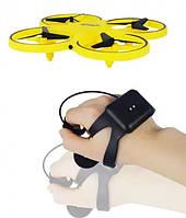 Квадрокоптер на радіокеруванні, дрон з управлінням жестами і LED-підсвічуванням облетающий препядствия Жовтий, фото 1