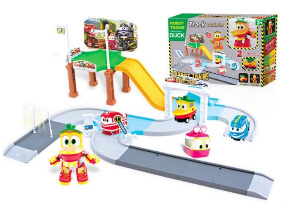 Игровой автотрек Роботы-Поезда Robot Trains Утенок (Duck) желтый