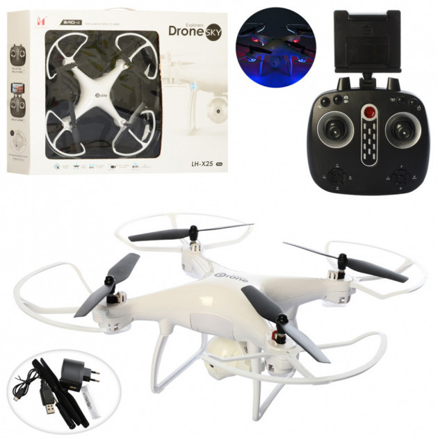 Квадрокоптер LH-X25WF р/у2,4G, аккум, 39см,камера,зап.лопасти,WiFi,св,USBзар,в кор,58-43,5-9см