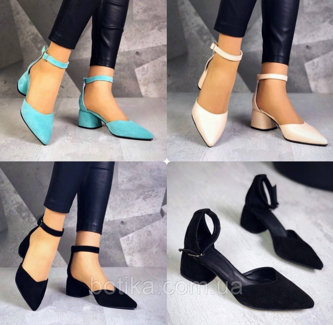 Шикарные туфли на каблуке на ремешке
