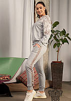 / Размер 46-48,50-52,52-54 / Женский батальный спортивный костюм 33927 / цвет меланж
