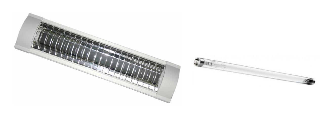 Комплект Лампа Бактерицидная 15W DELUX ОЗОН + светильник