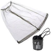 Компактная сетка от комаров на голову с резинкой и т.-зелёным чехлом Head Mosquito Net
