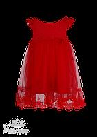 Нежное красное платье с фатиновой юбкой для девочки, фото 1