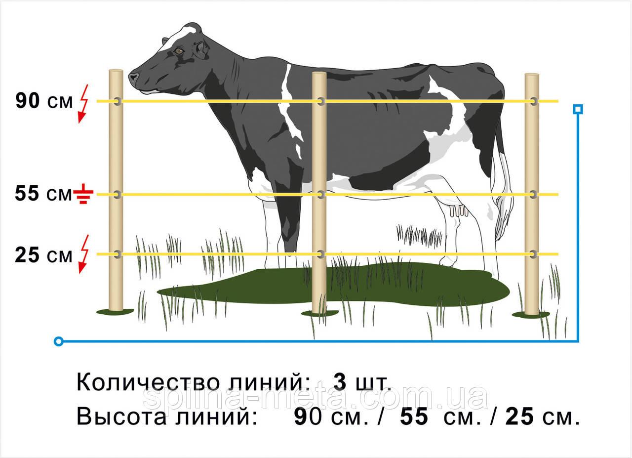 Электропастух Corral NA100, комплект для коров на периметр 1000 м (в одну линию)