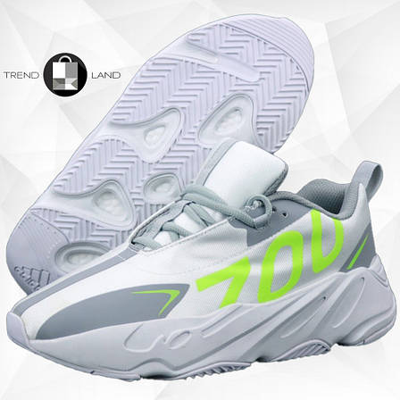 "Мужские кроссовки в стиле Adidas Yeezy 700 ""Numbers"" Grey/Green, фото 2"