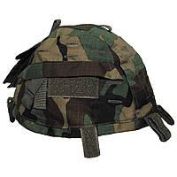 Чехол на каску с карманами регулируемый, лесной камуфляж MFH
