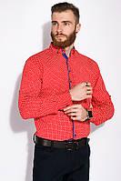 Стильная мужская рубашка 129P059 (Красно-белый)