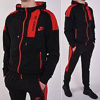 Мужской спортивный костюм Nike (Найк) с капюшоном, штаны на манжете - черный