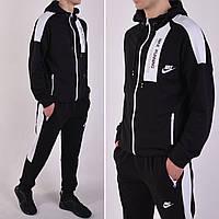 Размеры: 46/48/50/52/54. Черный мужской спортивный костюм Nike (Найк) с капюшоном, брюки на манжете