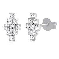 Серебряные серьги-пуссеты Дорси с ювелирным стеклом 000039755