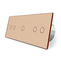 Сенсорный выключатель Livolo 5 каналов (2-1-2) золото стекло (VL-C702/C701/C702-13), фото 1