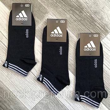 Носки мужские демисезонные хлопок спортивные Adidas, Athletic Sports, короткие, чёрные, 06204