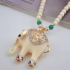 Длинное ожерелье Белый слон с бирюзовым украшением