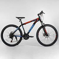 """Велосипед Спортивный CORSO 26""""дюймов 97104 BLACK/BLUE (1) рама металлическая 16'', 21 скорость, собран на 75%"""