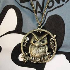 Большой медальон Сова с цепочкой