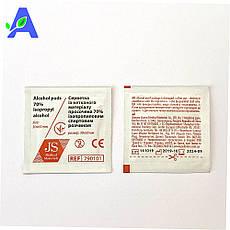 Антисептик спиртовые салфетки JS 30*65 мм 100 штук в упаковке, фото 2