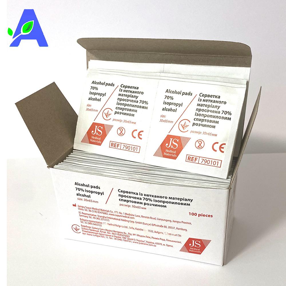Антисептик спиртовые салфетки JS 30*65 мм 100 штук в упаковке