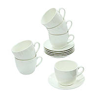 """Набір чашок з блюдцем на 6 персон """"Білий чай"""""""