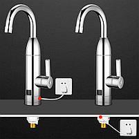 Кран-водонагреватель Oping OP-L11 Silver для быстрого нагрева воды с дисплеем нержавеющая сталь 3 кВт, фото 10