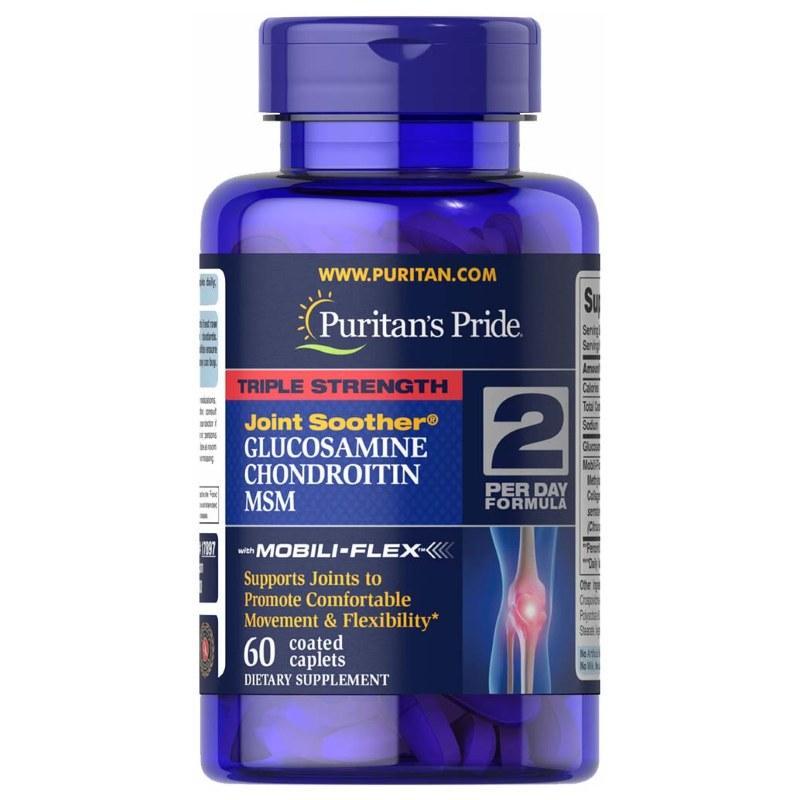 Для суставов и связок Puritan's Pride Triple Strength Chondroitin Glucosamine MSM, 60 каплет