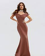 Нарядное коричневое платье с открытыми плечами L, фото 1