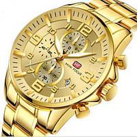 Стильные часы мужские кварцевые на браслете Mini Focus MF0278G.03 All Gold