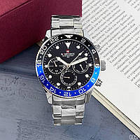 Часы мужские кварцевые водонепроницаемые надёжные Naviforce NF9147 Silver-Black-Blue