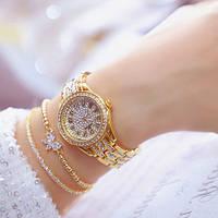 Женские наручные часы со стразами нарядные Bee Sister 1501 All Gold Diamonds