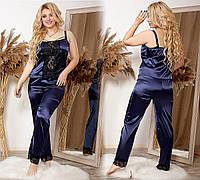 Женская стильная шелковая пижама Батал, фото 1