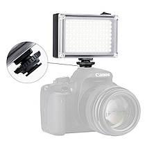 Накамерный свет Ulanzi 112LED для видеосъемки димируемая светодиодная панель 120° 5500К 2 матовых фильтра, фото 2