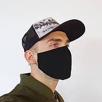 Маска защитная на лицо многоразовая 2-х слойная (ЦВЕТА - черный, белый, розовый серый, бежевый и красный)