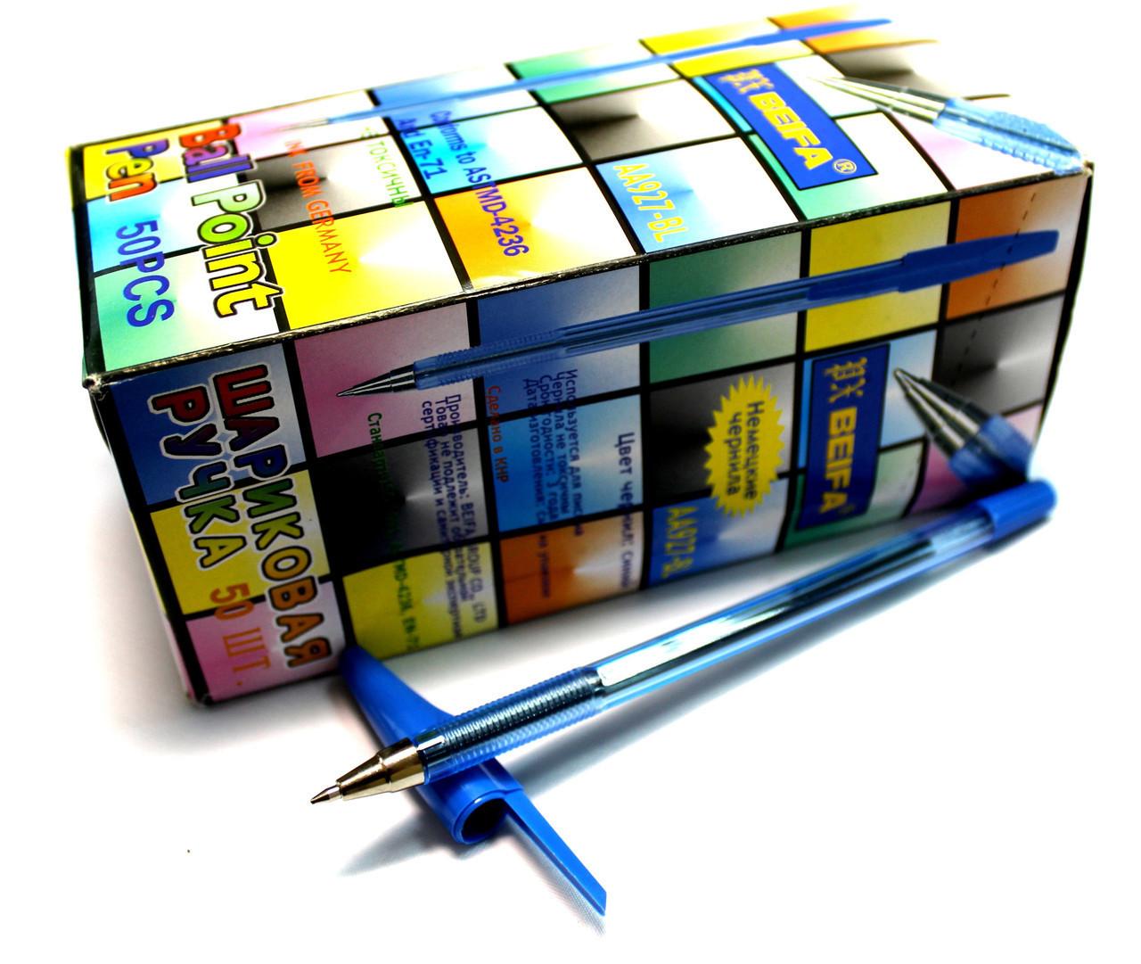 """Ручки шариковые """"Beifa"""" (50шт/уп) синие"""