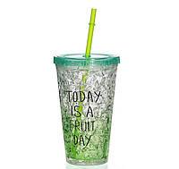 Стакан поликарбонатный охлаждающий с трубочкой ICE CUP Benson BN-284 зеленый   бутылочка со льдом Бенсон, фото 1