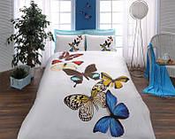 Постельное белье Тас сатин 3D - Butterflies голубое евро