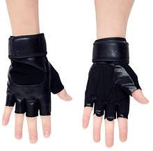 Перчатки для тренажерного зала велосипеда с напульсниками Sport 518 безпалые черные