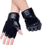 Перчатки для тренажерного зала велосипеда с напульсниками Sport 518 безпалые черные, фото 2