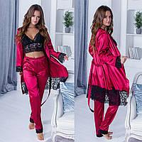 Женская стильная шелковая пижама и халат, фото 1