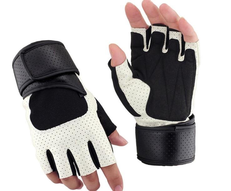 Перчатки для тренажерного зала велосипеда с напульсниками Sport 518 безпалые белые