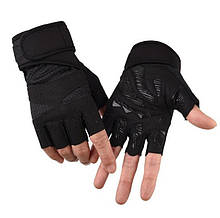Перчатки для тренажерного зала велосипеда с напульсниками Sport 519 безпалые черные