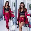 Женский стильный набор 4-ка: шелковая пижама и халат