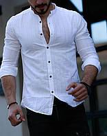 Стильная льняная мужская рубашка с длинным рукавом-трансформером, фабричная Турция